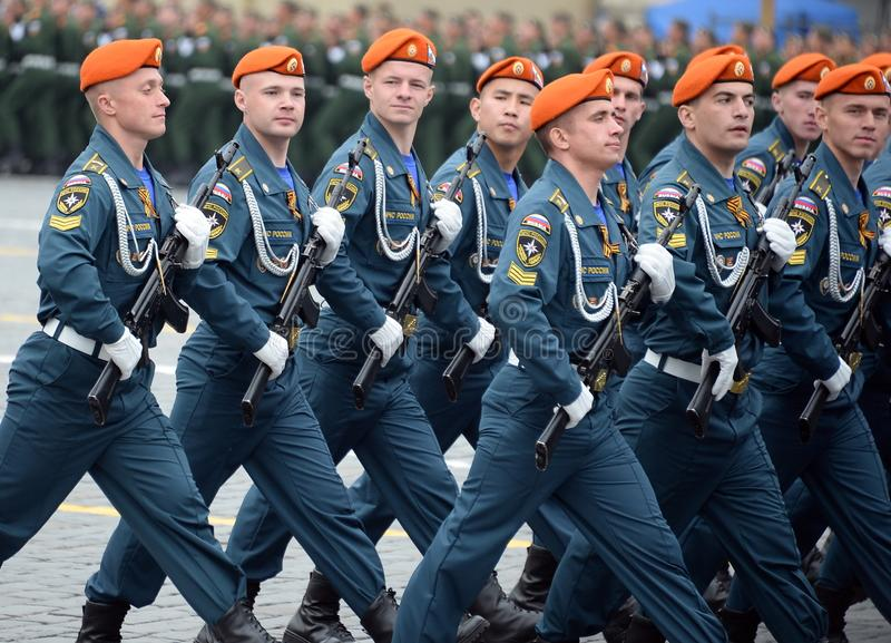 Cadets of the Academy of civil protection of EMERCOM of Russia during the parade on red square in honor of victory Day. MOSCOW, RUSSIA - MAY 9, 2019: Cadets of royalty free stock photo