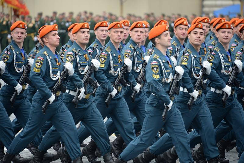 Cadets of the Academy of civil protection of EMERCOM of Russia during the parade on red square in honor of victory Day. MOSCOW, RUSSIA - MAY 9, 2019: Cadets of stock image