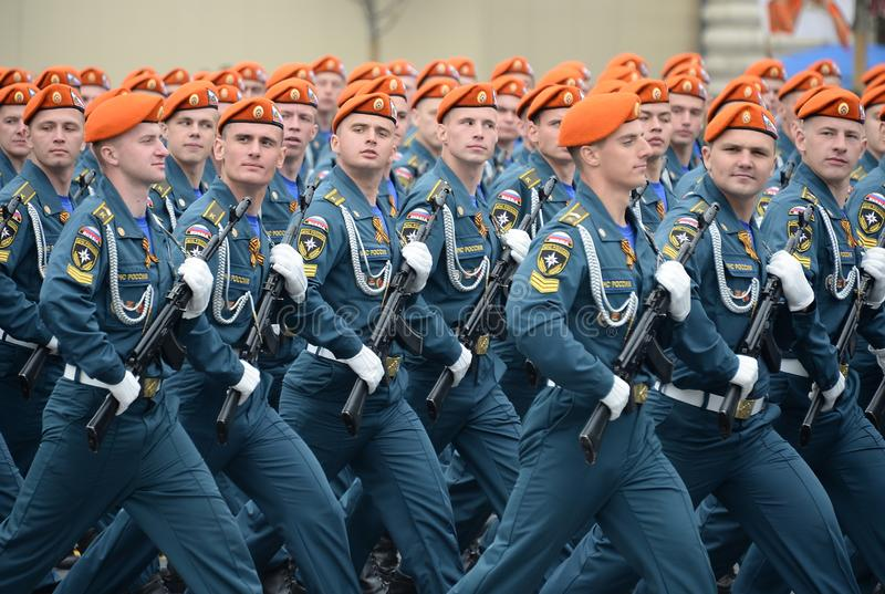Cadets of the Academy of civil protection of EMERCOM of Russia during the parade on red square in honor of victory Day. MOSCOW, RUSSIA - MAY 9, 2019: Cadets of stock images