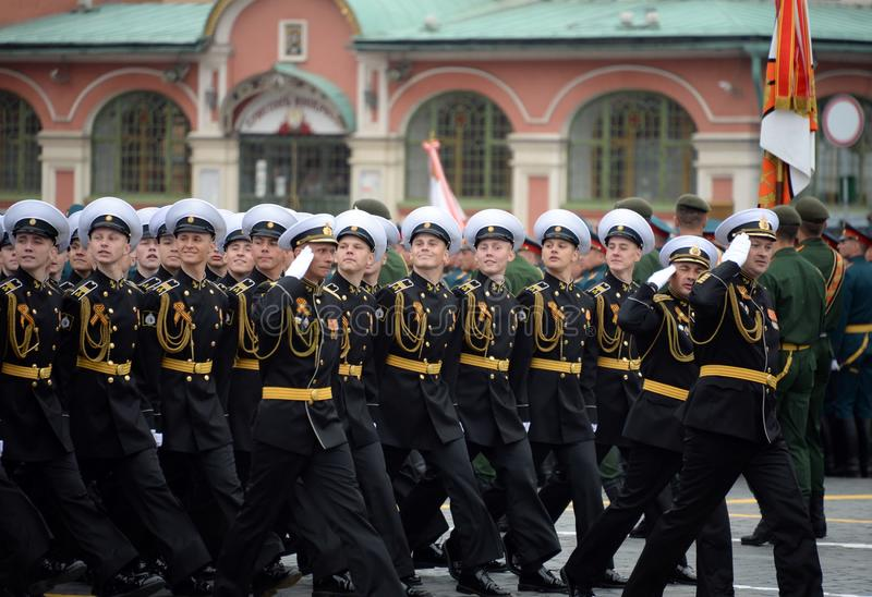 Cadets of the Kronstadt naval cadet military corps during the parade on red square in honor of victory Day royalty free stock images