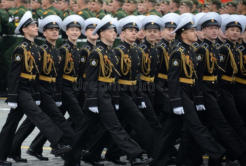 Cadets of the Kronstadt naval cadet military corps during the parade on red square in honor of victory Day royalty free stock photography