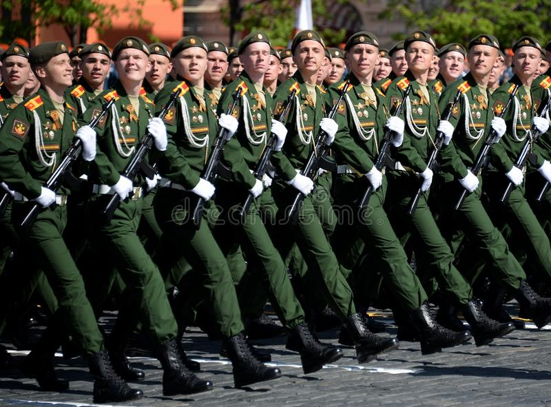Cadets of the military Academy of logistics behalf of the army General A.V. khruleva on the parade dedicated to the Victory Day. MOSCOW, RUSSIA - MAY 09, 2018 royalty free stock photo