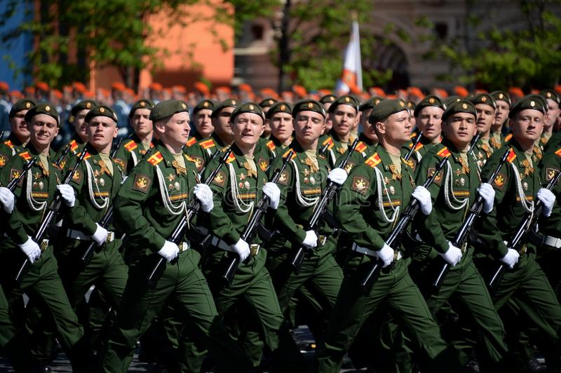 Cadets of the military Academy of logistics behalf of the army General A.V. khruleva on the parade dedicated to the Victory Day. MOSCOW, RUSSIA - MAY 09, 2018 stock images