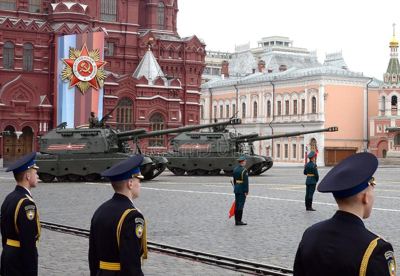 Russian heavy self-propelled 152 mm howitzer 2S19 `Msta-S` M1990 `Farm`. MOSCOW, RUSSIA - MAY 9, 2019: Celebration of the 74th anniversary of the Victory Day stock images
