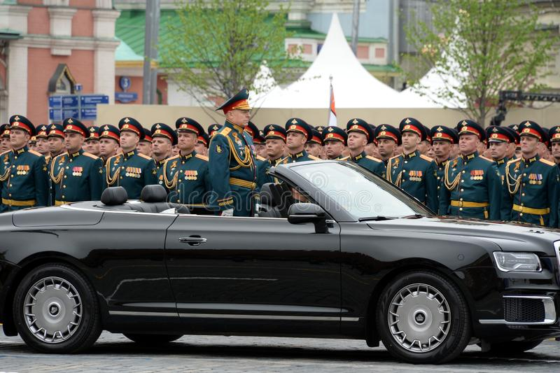 Commander-in-chief of the Land forces of the Russian Federation army General Oleg Salyukov on the car `Aurus`. MOSCOW, RUSSIA - MAY 9, 2019:Commander-in-chief of stock photography