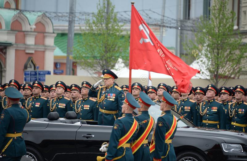 Commander-in-chief of the Land forces of the Russian Federation army General Oleg Salyukov on the car `Aurus`. MOSCOW, RUSSIA - MAY 9, 2019:Commander-in-chief of royalty free stock photo