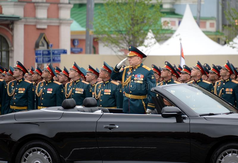 Commander-in-chief of the Land forces of the Russian Federation army General Oleg Salyukov on the car `Aurus`. MOSCOW, RUSSIA - MAY 9, 2019:Commander-in-chief of stock images