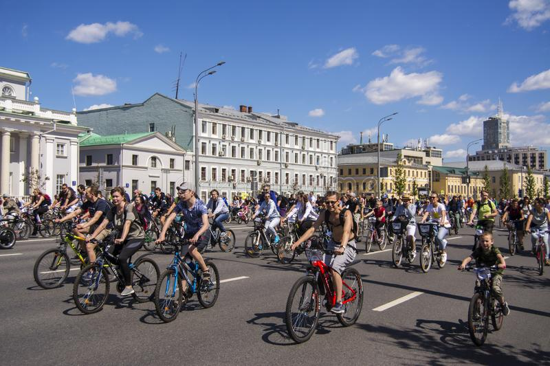 Moscow. Russia. 19 may 2019. Moscow Cycling festival 2019. Funny bike lovers go on a wide street royalty free stock images