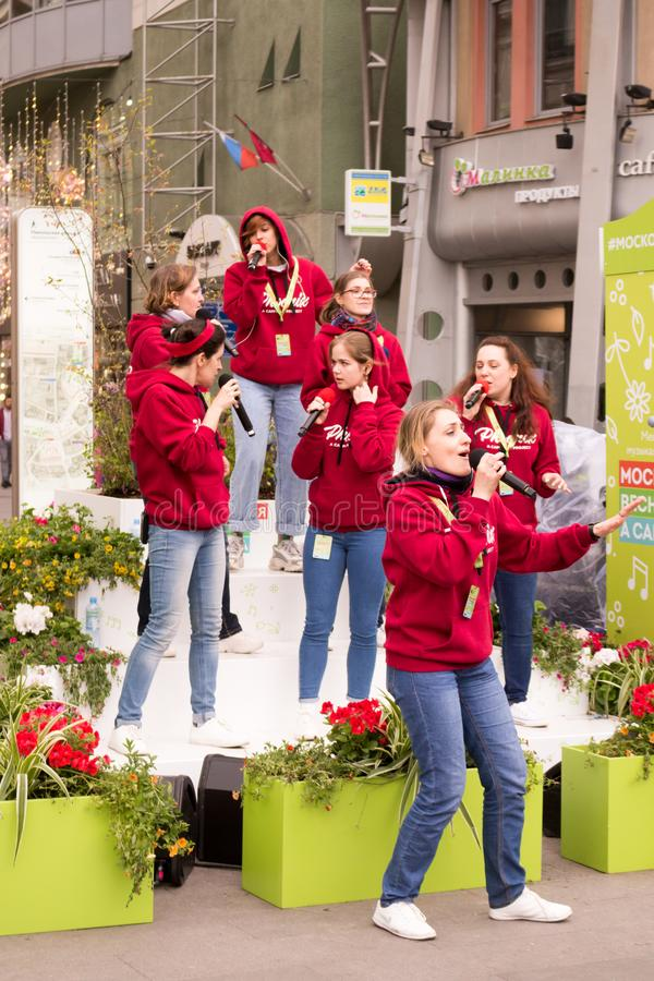 Moscow, Russia. Festival acappella Moscow Spring. Nikolskaya street. Moscow, Russia - May 05. 2019: Festival acappella Moscow Spring. Nikolskaya street.  Choir stock photography