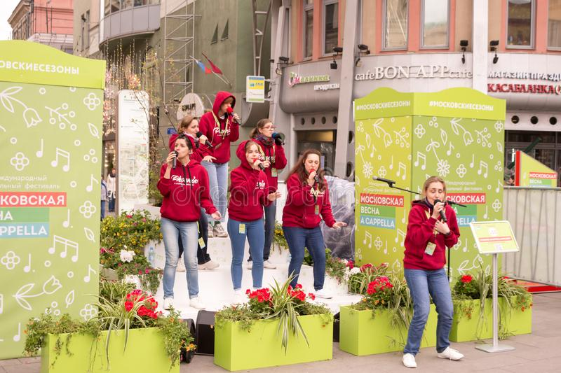 Moscow, Russia. Festival acappella Moscow Spring. Nikolskaya street. Moscow, Russia - May 05. 2019: Festival acappella Moscow Spring. Nikolskaya street.  Choir royalty free stock photos