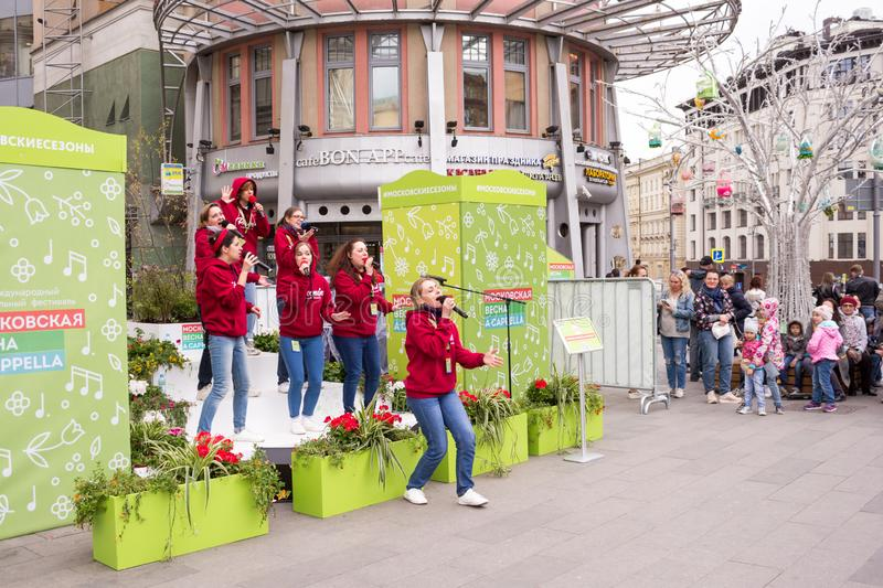 Moscow, Russia. Festival acappella Moscow Spring. Nikolskaya street. Moscow, Russia - May 05. 2019: Festival acappella Moscow Spring. Nikolskaya street.  Choir stock photo
