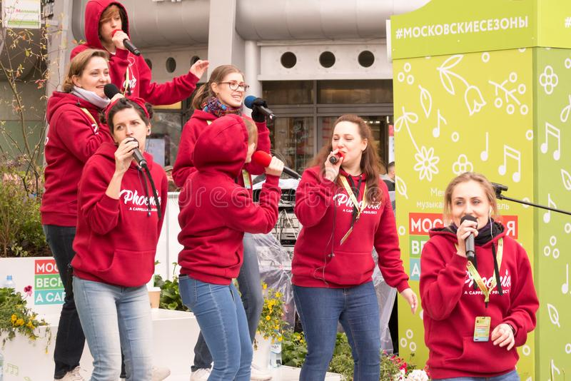 Moscow, Russia. Festival acappella Moscow Spring. Nikolskaya street. Moscow, Russia - May 05. 2019: Festival acappella Moscow Spring. Nikolskaya street.  Choir stock photos