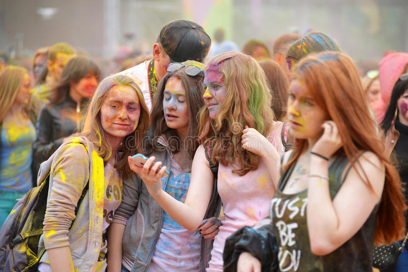 MOSCOW, RUSSIA - MAY 23, 2015: Festival of colors Holi in the Luzhniki Stadium. Roots of this fest are in India, where it called. MOSCOW, RUSSIA - MAY 23, 2015 royalty free stock photos