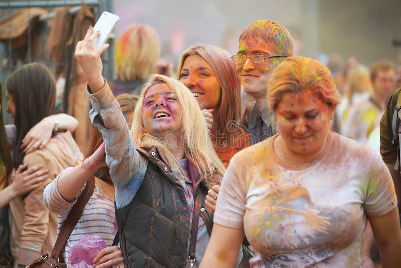 MOSCOW, RUSSIA - MAY 23, 2015: Festival of colors Holi in the Luzhniki Stadium. Roots of this fest are in India, where it called. MOSCOW, RUSSIA - MAY 23, 2015 stock photos