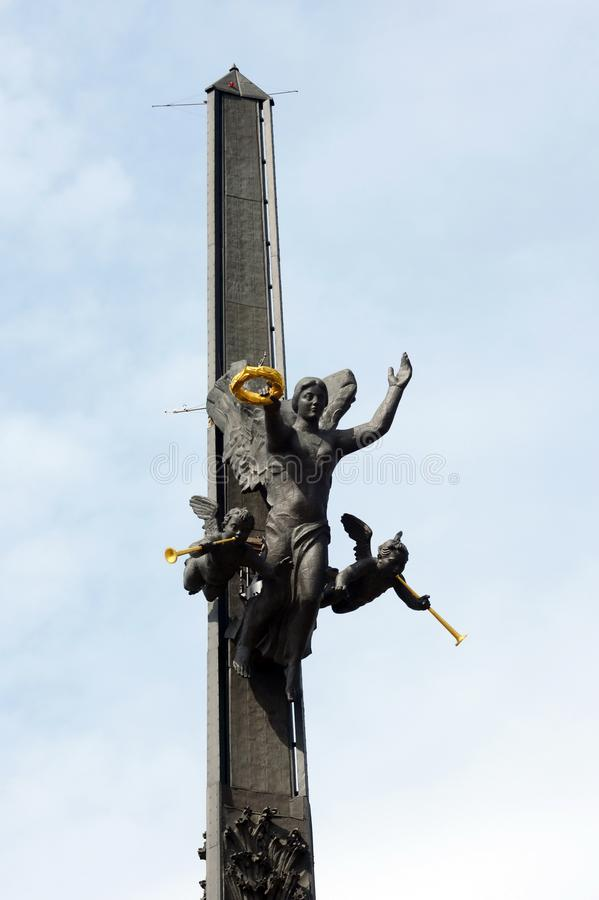 Fragment of the monument to St. George the Victorious on Poklonnaya Hill in Moscow. stock photography