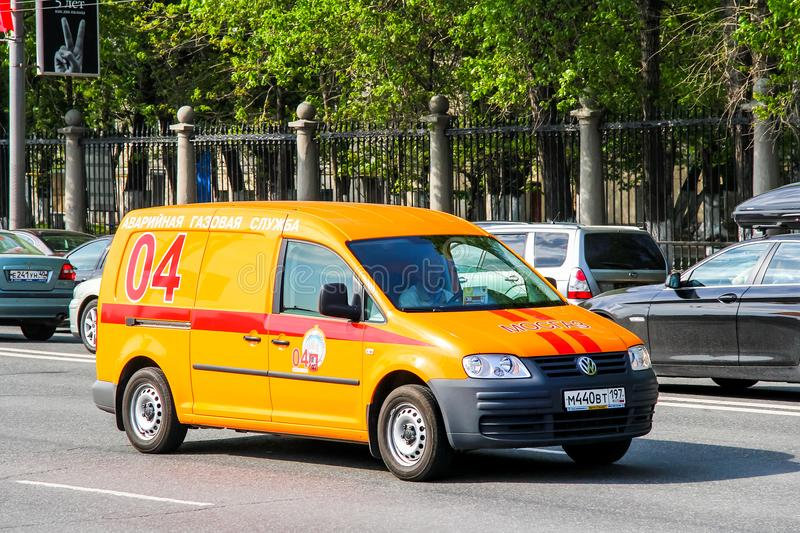 Volkswagen Caddy. Moscow, Russia - May 5, 2012: Gas service truck Volkswagen Caddy in the city street stock photos
