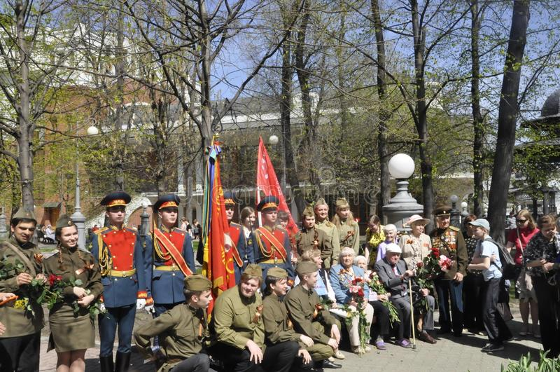 Moscow, Russia, May 9, 2018, honoring the Great Patriotic War by soldiers of the Transfiguration Regiment and war veterans. The 154th Separate Commandant stock photo