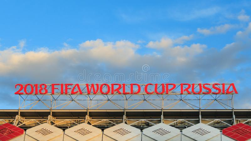 Moscow, Russia, May 2018: The inscription in red letters in the top of the stadium royalty free stock image