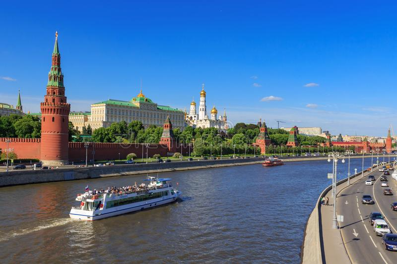 Moscow, Russia - May 27, 2018: Moscow Kremlin on the background of Moskva river embankments royalty free stock images