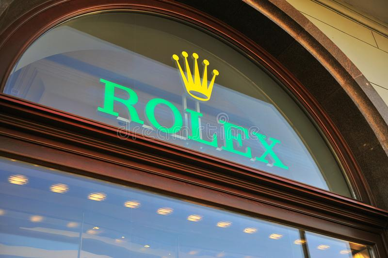 Logo of Rolex flagship boutique royalty free stock photo