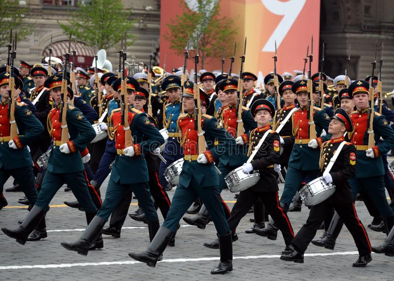 Military parade on victory Day on red square in Moscow. MOSCOW, RUSSIA - MAY 9, 2019: Military parade on victory Day on red square in Moscow royalty free stock photography