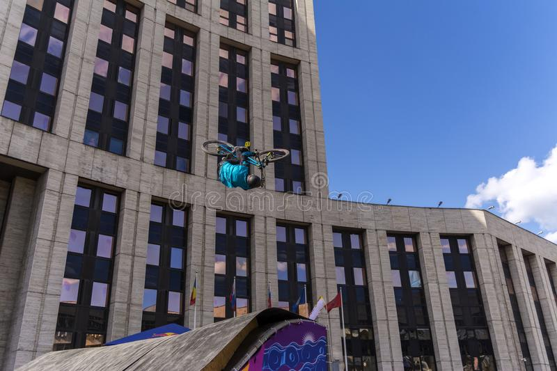 Moscow. Russia. 19 may 2019. Moscow Cycling festival 2019. The cyclist does the trick on the trampoline royalty free stock photos