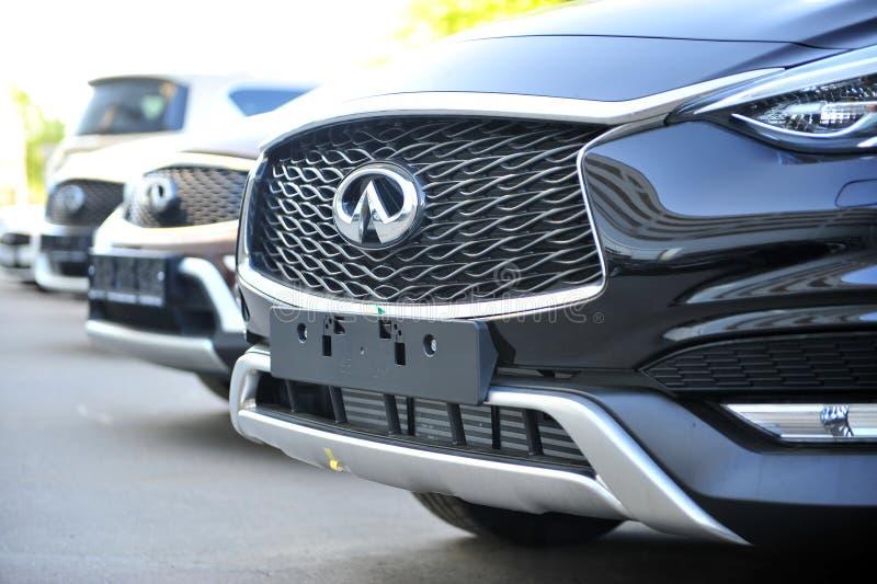New car models of 2018 year at Infiniti dealer center stock image