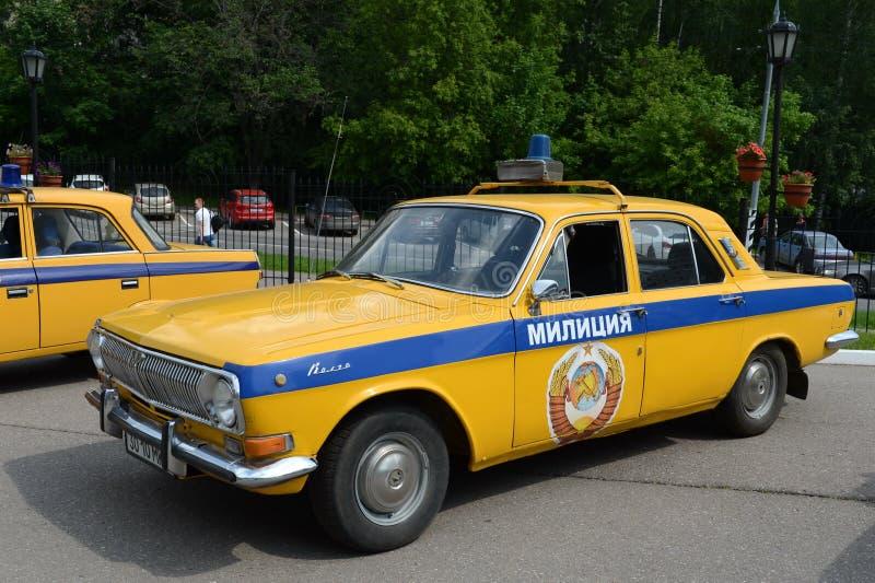 The old Soviet police car GAZ-24 `Volga`. MOSCOW, RUSSIA - MAY 27, 2016: The old Soviet police car GAZ-24 `Volga stock image