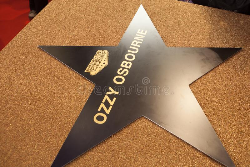 Ozzy Osbourne`s personal star in Moscow 31.05.2018. MOSCOW, RUSSIA - MAY 17, 2018: Ozzy Osbourne`s personal star at Vegas Crocus City mall. This star will be stock photos