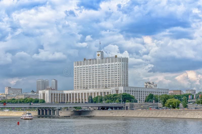 Moscow, Russia - May 26, 2019:  Panoramic view of the Krasnopresnenskaya embankment and White House in the Moscow center royalty free stock photo