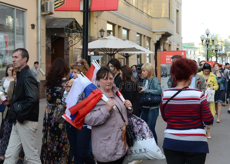 People Celebrate Victory Day On The Arbat. Editorial Stock ...