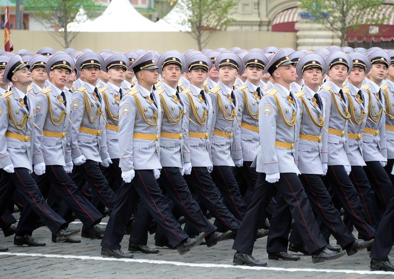 Police cadets of the Moscow University of the interior Ministry during the parade on red square in honor of victory Day stock images