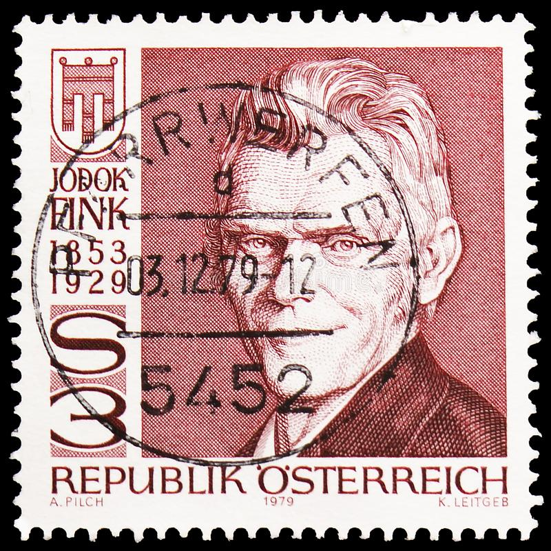 50th Death Anniversary of Jodok Fink, circa 1979. MOSCOW, RUSSIA - MAY 25, 2019: Postage stamp printed in Austria devoted to 50th Death Anniversary of Jodok Fink royalty free stock photos