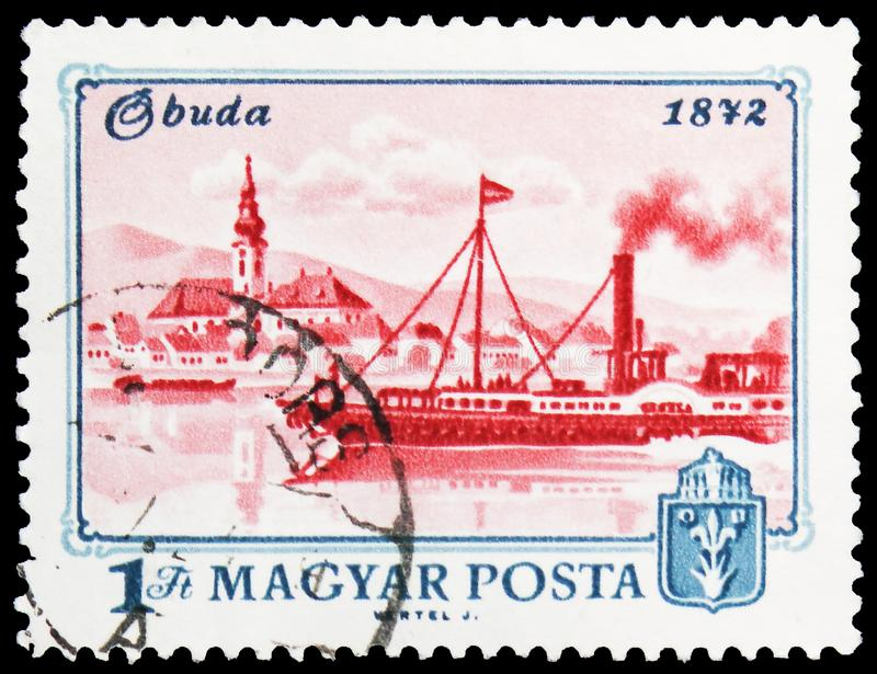 View of Obuda, 1872, Centenary of Budapest serie, circa 1972. MOSCOW, RUSSIA - MAY 25, 2019: Postage stamp printed in Hungary shows View of Obuda, 1872 stock images