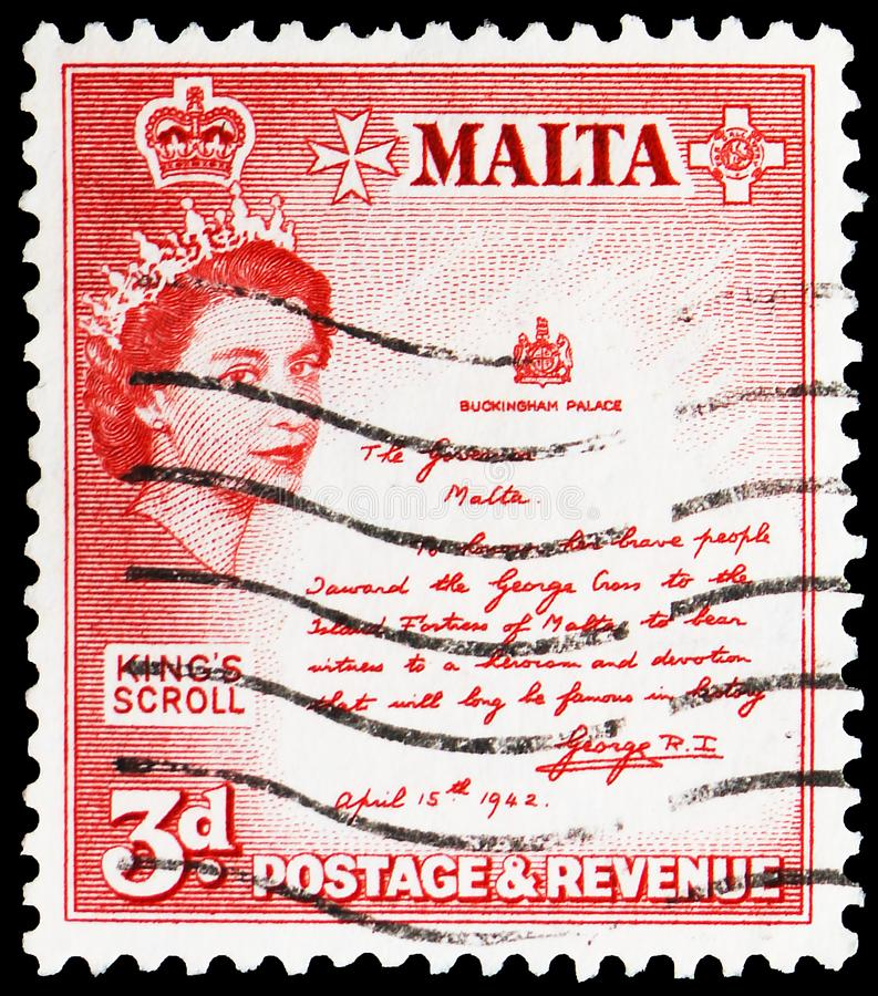 King\'s Scroll, Queen Elizabeth II Definitives - 1956-58 serie, circa 1956. MOSCOW, RUSSIA - MAY 25, 2019: Postage stamp printed in Malta shows King\'s Scroll stock photography
