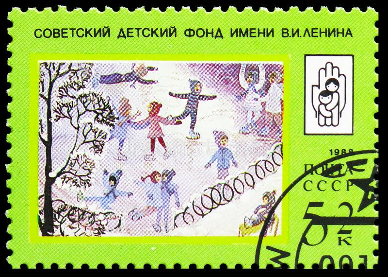 Skating Rink, Lenin Children's Fund serie, circa 1988. MOSCOW, RUSSIA - MAY 25, 2019: Postage stamp printed in Soviet Union shows Skating Rink, Lenin stock image