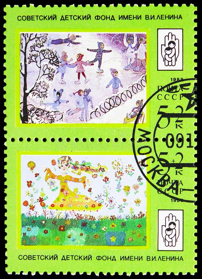 Skating Rink and May girl and flowers, Lenin Children's Fund serie, circa 1988. MOSCOW, RUSSIA - MAY 25, 2019: Postage stamp printed in Soviet Union shows royalty free stock photo