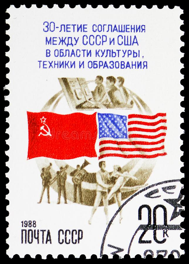 30th Anniversary of Agreement with USA, serie, circa 1988 stock photography