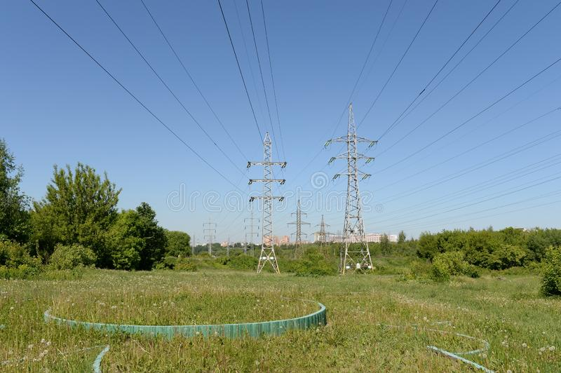 Power line in Moscow`s Lublin park stock photography