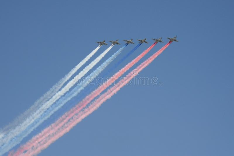 Rehearsal of the Victory Day celebration. On the Red Square, group of assault plane Sukhoi Su-25 Grach NATO  name: `Frogfoot` in. MOSCOW, RUSSIA - MAY 7,2019 royalty free stock photos