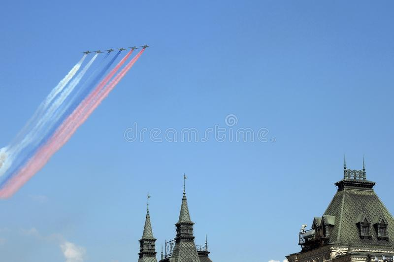 Rehearsal of the Victory Day celebration. On the Red Square, group of assault plane Sukhoi Su-25 Grach NATO  name: `Frogfoot` in. MOSCOW, RUSSIA - MAY 7,2019 royalty free stock images