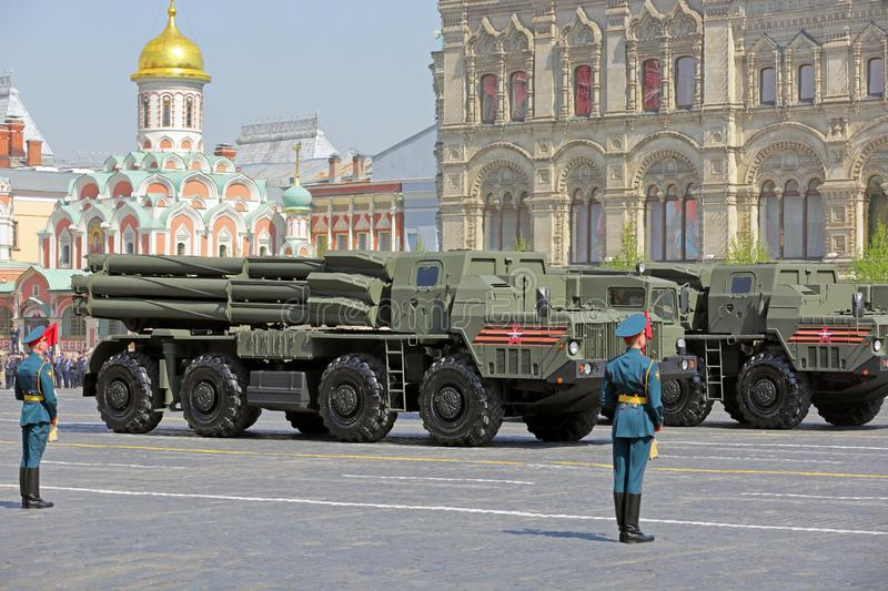 BM-30 Smerch. MOSCOW, RUSSIA - MAY 07, 2019: Rehearsal of the Victory Day celebration WWII. Solemn passage of military hardware on Red Square. The BM-30 Smerch royalty free stock photos