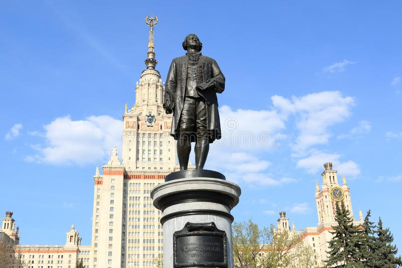 Moscow, Russia - May 01, 2019: Sculpture of Mikhail Vasilyevich Lomonosov against the background of the Moscow State University. Moscow State University named stock images