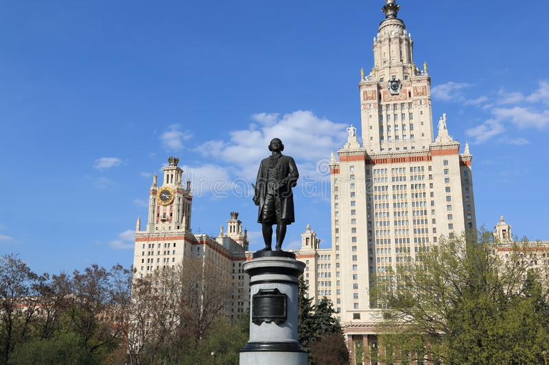 Moscow, Russia - May 01, 2019: Sculpture of Mikhail Vasilyevich Lomonosov against the background of the Moscow State University. Moscow State University named stock photo