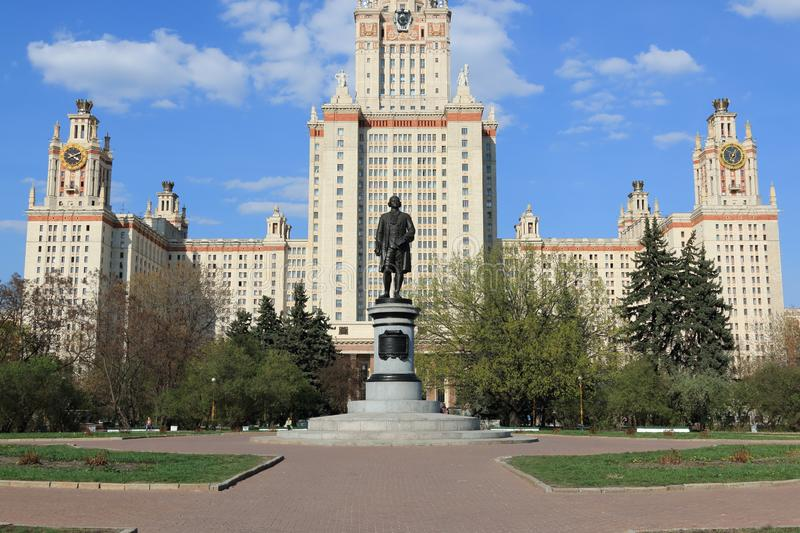 Moscow, Russia - May 01, 2019: Sculpture of Mikhail Vasilyevich Lomonosov in front of the Moscow State University. Moscow State University named after the stock image
