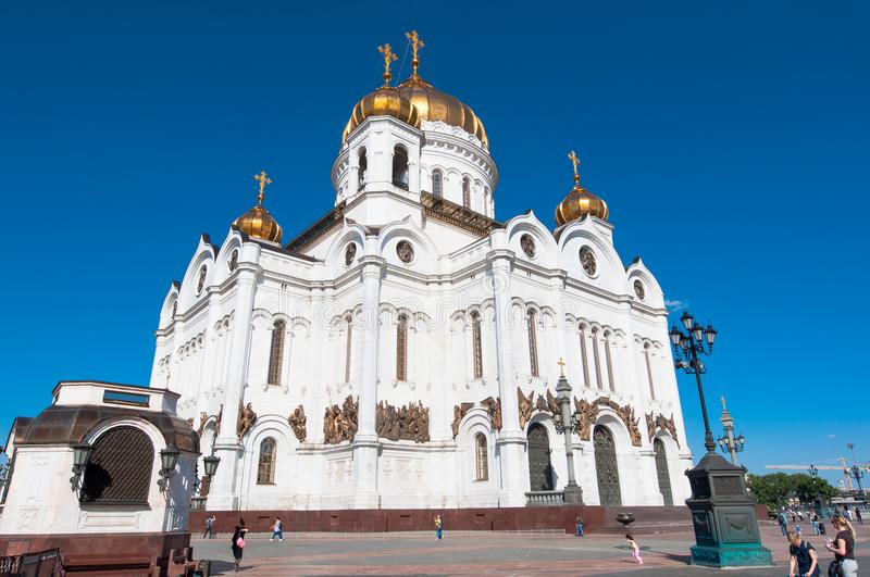 Side view of the Cathedral of Christ the Saviour during the midday, locals and tourists go sightseeing. Moscow, Russia-May 27, 2018: Side view of the Cathedral stock photos