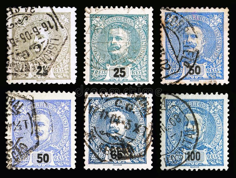 Six postage stamps shows King Carlos I, serie, circa 1895. MOSCOW, RUSSIA - MAY 13, 2018: Six postage stamps printed in Portugal shows King Carlos I, serie royalty free stock images