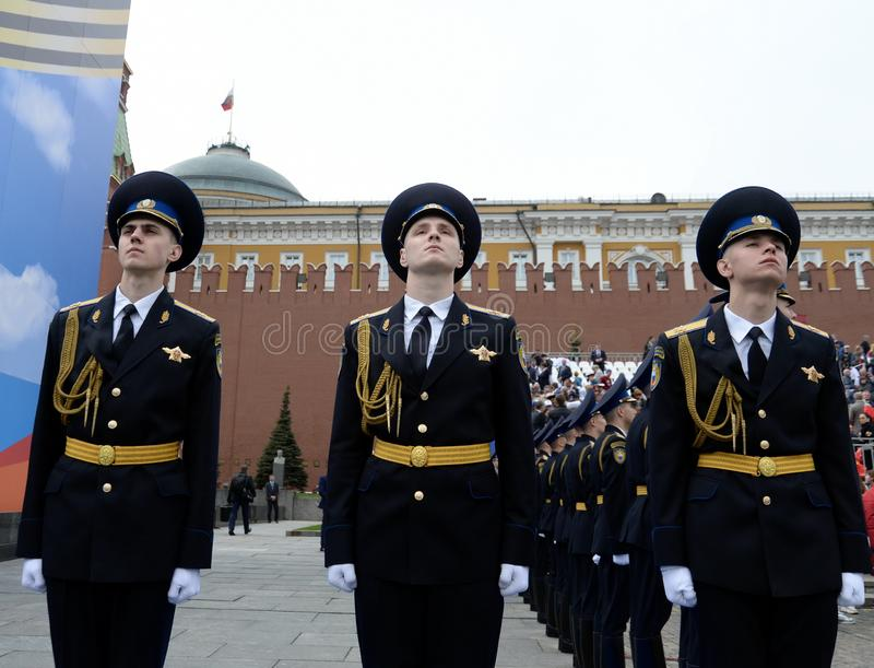 Soldiers of the presidential regiment during the parade on red square in Moscow in honor of Victory Day. MOSCOW, RUSSIA - MAY 9, 2019: Soldiers of the stock photo