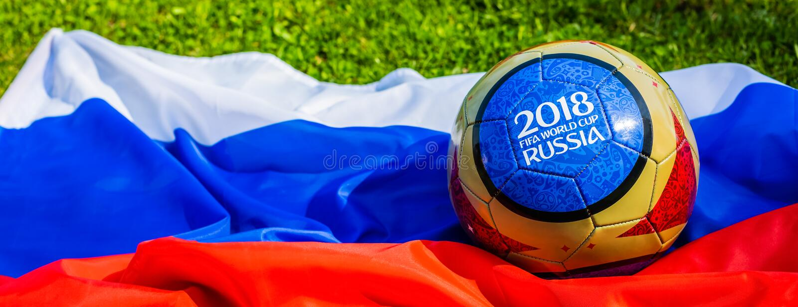 Moscow, Russia. May 13, 2018. Souvenir ball with the emblems of the FIFA World Cup 2018 in Moscow. stock photo