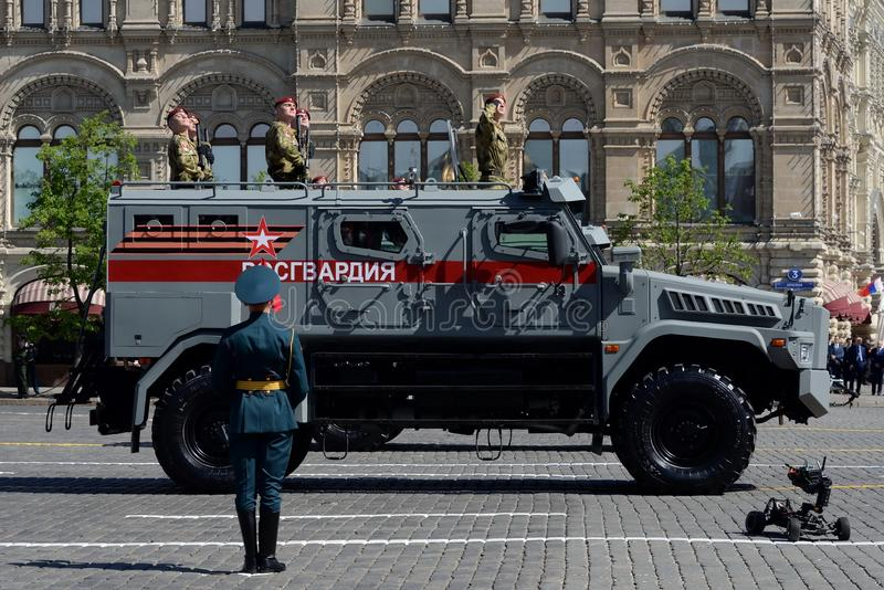 Special-purpose vehicle `Patrol` on the basis of KAMAZ-43501 troops of the National Guard during the parade on Red Square. stock photo